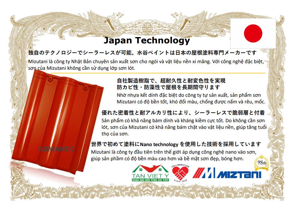 Mizutani đồng hành cùng Tân Việt Ý đưa sơn nano vào sản xuất, giúp ngói Romatic có màu vợt trội, thân thiện với môi trường